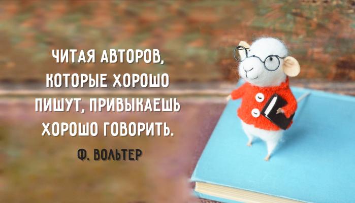 Читая авторов, которые хорошо пишут, привыкаешь хорошо говорить. © Ф. Вольтер