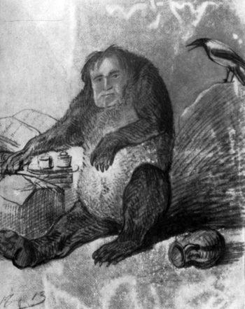 И.А. Крылов. Шуточный рисунок А. Орловского. 1810-е гг.